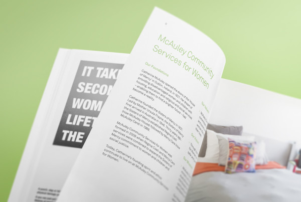 McAuley Community Services for Women Annual Report Graphic Design